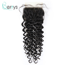 TRANSPARENT Lace Closure Virgin-Hair Deep-Wave Berryshair Plucked Peruvian 10A with Swiss
