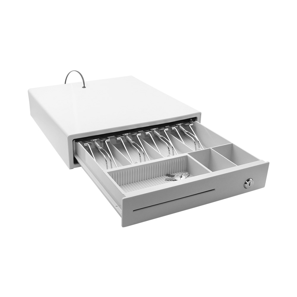 Heavy Duty Cash Drawer Three-Gear POS Cash Register Drawers Cashbox  with Money Tray and Lock RJ11 Interface Smart POS System