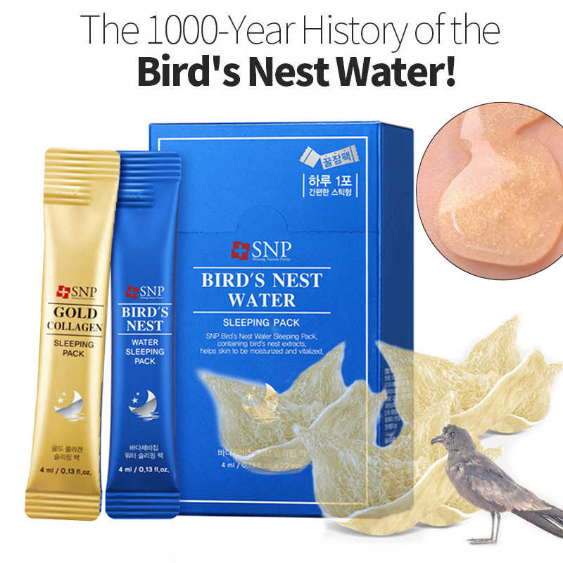 SNP Collagene Nido di Uccello Acqua Maschera di Sonno Pack Alleviare Il Irritata Anti Invecchiamento Della Pelle Durante La Notte Crema Corea Maschera Per il Viso