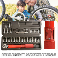 20/25pcs Bicycle Repair Adjustable Torque Wrench Reversible Click Type Torque Wrench QJS Shop