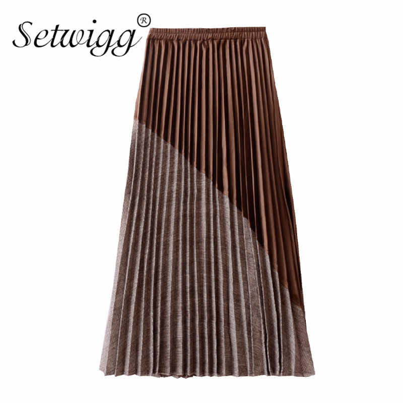 SETWIGG Winter Pleuche Plaid skośny Patchwork A-line Maxi długie plisowane spódnice rozciągliwa talia aksamitna kostka długie spódnice