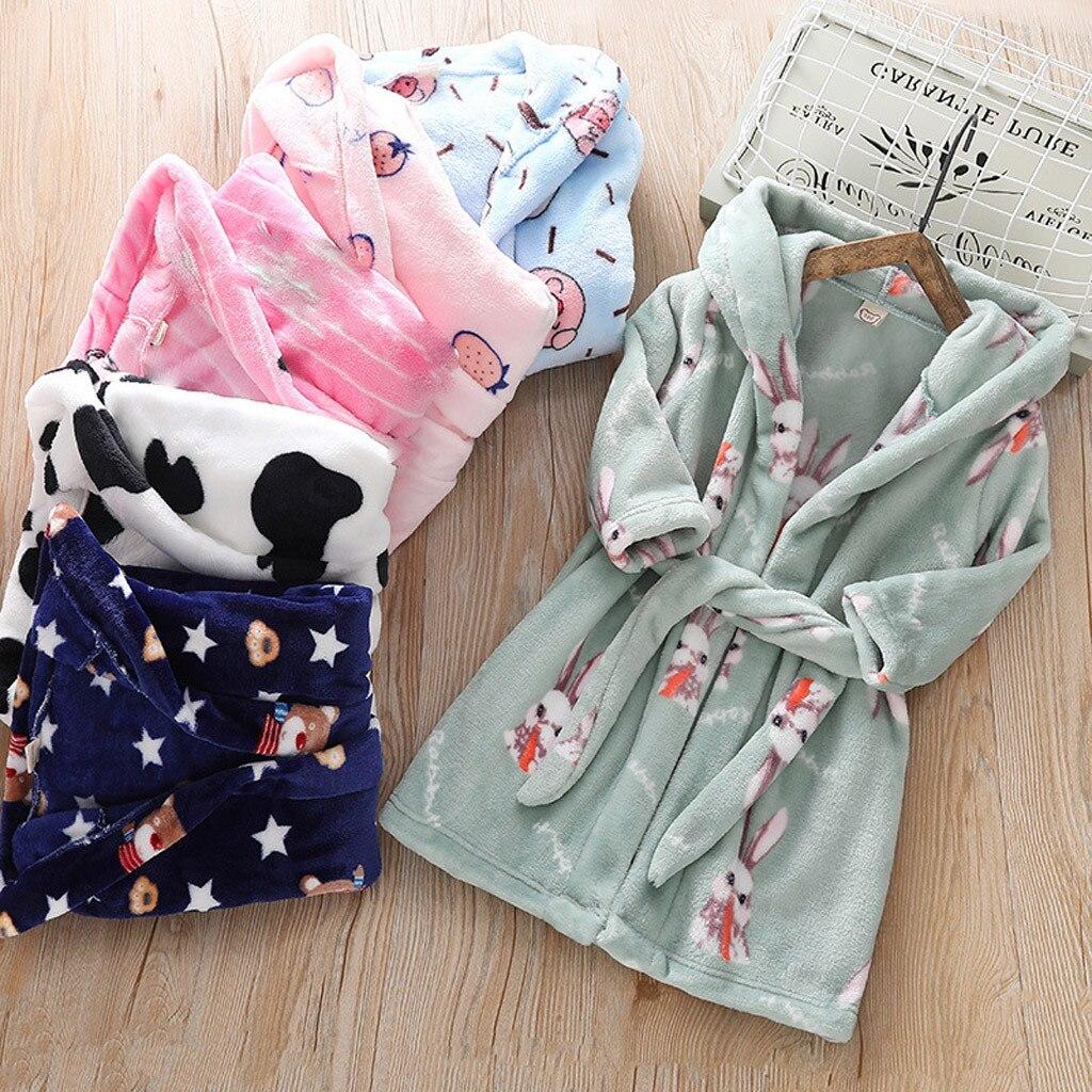 Toddler Kids Boy Girl Warm Cartoon Hooded Flannel Bathrobe Coat Towel Sleepwear