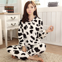 New Summer And Winter 2019 Coral Fleece Casual Pajamas Women Cartoon Cow Flannel long sleeve Home Wear Suit