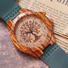 Imitation Wood Watch Men Women The Tree of Life Pattern Quar
