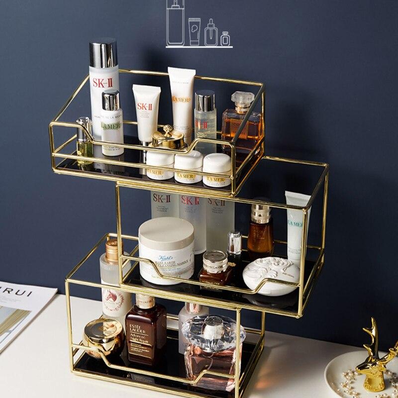 Скандинавский Вращающийся Косметический Настольный ящик для хранения, прозрачный органайзер для макияжа, 2 яруса, стеклянный лоток, туалетный столик, отделочная стойка|Ящики и баки для хранения|   | АлиЭкспресс