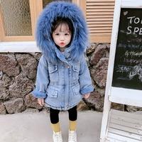 Denim Jacket For Girls Plus Velvet Real Fut Coat For Girl Warm Toddler Children's Jacket Kids Coat Kids Infant Girl Jacket