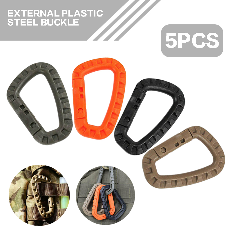 5pcs Carabiners ABS Plastic Outdoor Hiking Camping Climbing Buckles Survival Gear Suitable for Exploring/Rappelling/Rescue