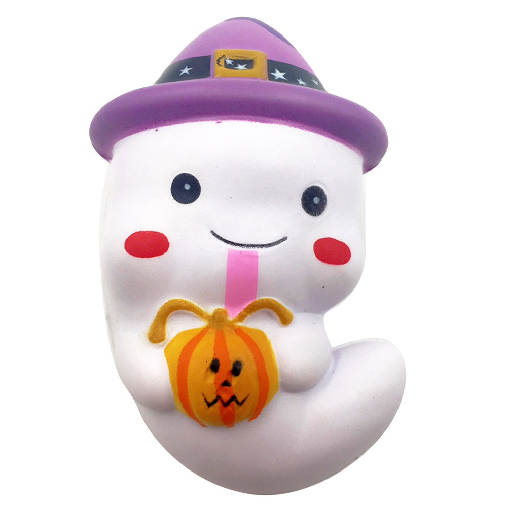 Stress Reliever Magic Cube Toy 12cm Cute Ghost Squeeze Slow Rising Fun Toy Halloween Gift Phone Strap  L0119