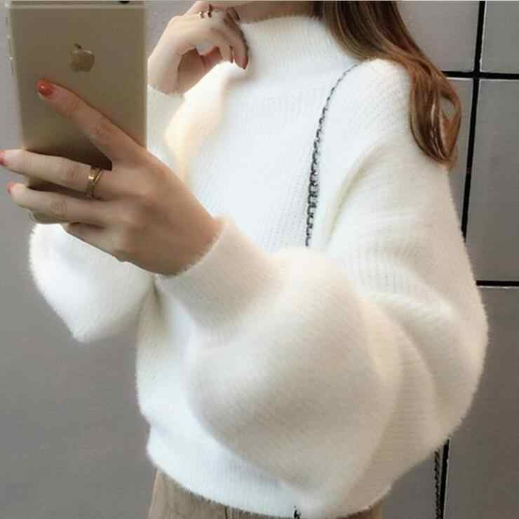 Women's Casual Mink Cashmere Turtleneck Lantern Sleeve Crop Sweater Loose Knitted Purple Pullover Oversize Jumper Tops New Q9238