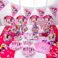 155Pcs Red Minnie Mouse Disney Baby Shower Boys Birthday Decoration Wedding Event Party Supplies Various Tableware Sets For Kids