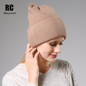 Image 4 - 2020 New Winter Solid Color Wool Knit Beanie Women Fashion Casual Hat Warm Female Soft Thicken Hedging Cap Slouchy Bonnet Ski
