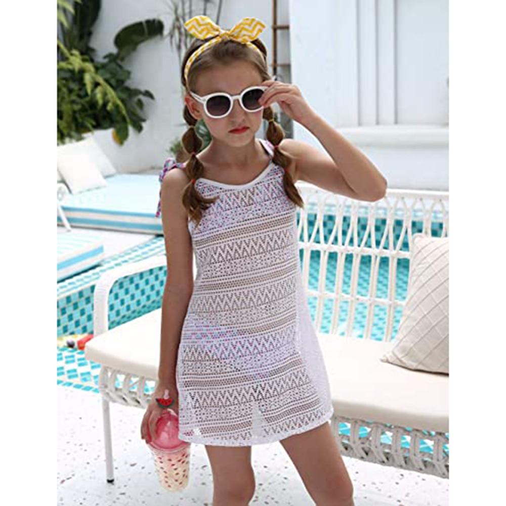 Swimsuit Cover Up For Girls Little Kids Girl's Beach Crochet Mesh Crossback Swim Cover Up Dress 3-8Years