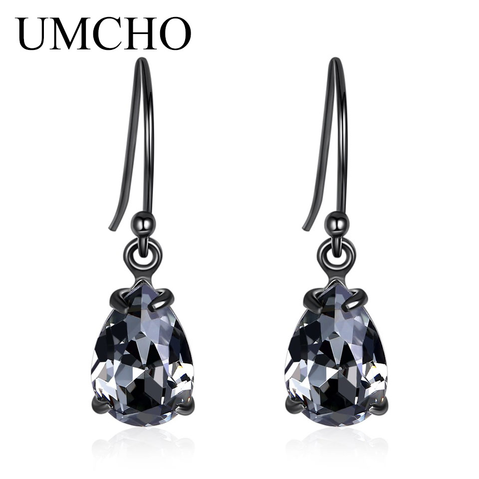UMCHO Elegant Black 925 Sterling Silver Nano Crystal Women Drop Earrings for Anniversary Party Gifts Fine Jewelry Decorations