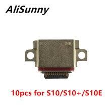 AliSunny 10 adet USB bağlantı noktası Dock samsung için konektör Galaxy S10 artı S10E şarj şarj tak yedek parçalar