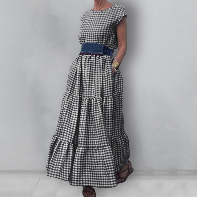 gingham dress, nice belted, tri-level skirting swing, cuff sleeve 3