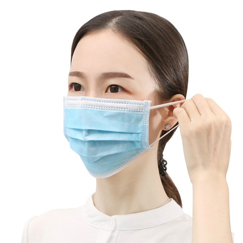 Hot Sale Disposable Anti-Dust 3-layer Mask Non Woven Meltblown Cloth Mask Earloops Mask Breathable Protetive Mask Fast Delivery
