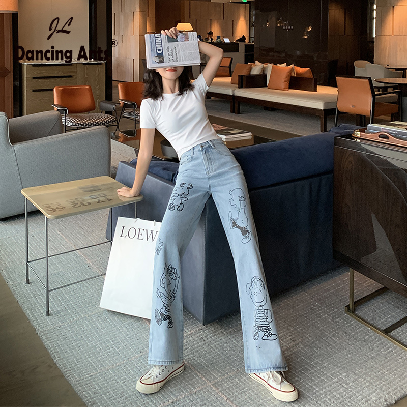 Jeans Women High Waist Jeans  Wide Leg Pant Women Mom Boyfriend Jeans Mujer Full-length Denim Cartoon Print