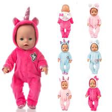 Fit 18 inch 43cm Doll Clothes Born Baby Unicorn Kitten and Pony Doll Clothes Suit For Baby Birthday