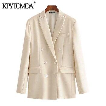 KPYTOMOA kobiety 2020 moda ubranie biurowe podwójne piersi marynarka płaszcz Vintage kieszenie z długim rękawem damska odzież wierzchnia eleganckie koszule