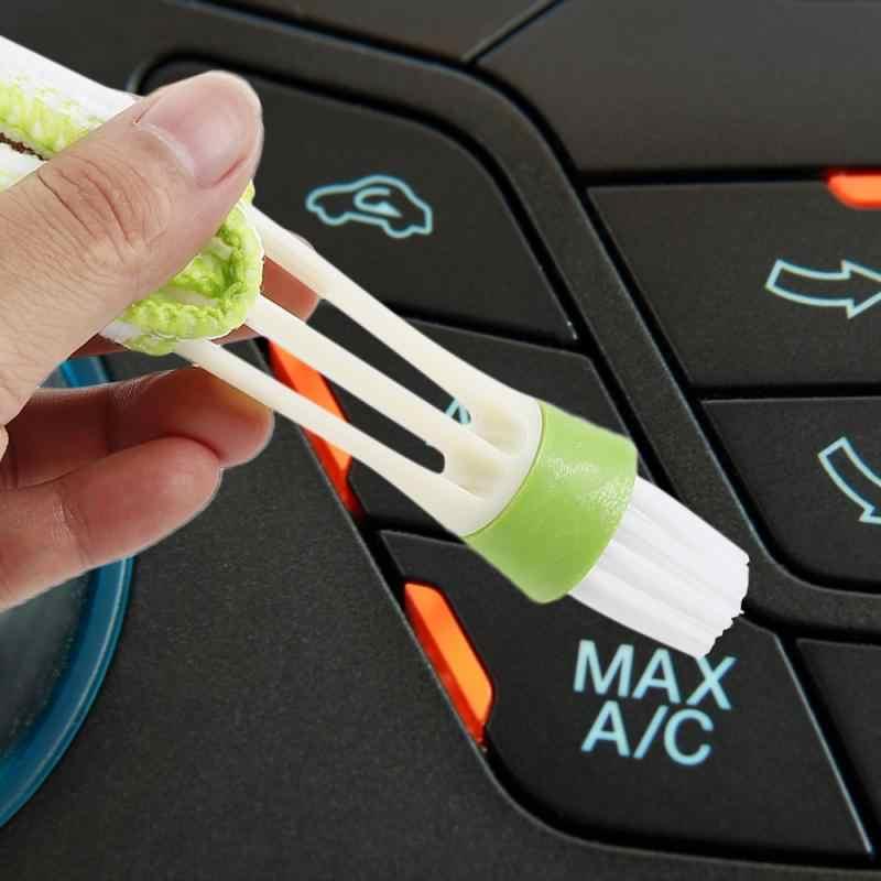 חדש רכב ניקוי 2 ב 1 ניקוי מברשת לשקע מזגן אבק מברשת ביתי פער אבנט חריצים ניקוי כלי אבזרים