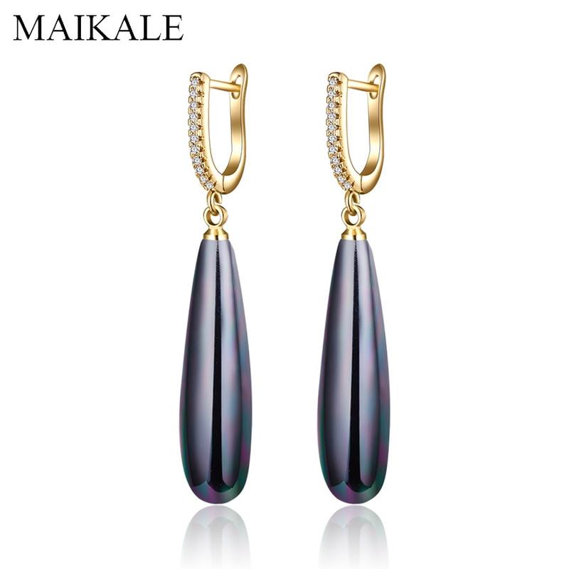 MAIKALE Luxury Black Red Gold Silver Pearl Earrings for Women Zirconia CZ Long Drop Earrings Wedding Party Jewelry Fashion Gifts(China)