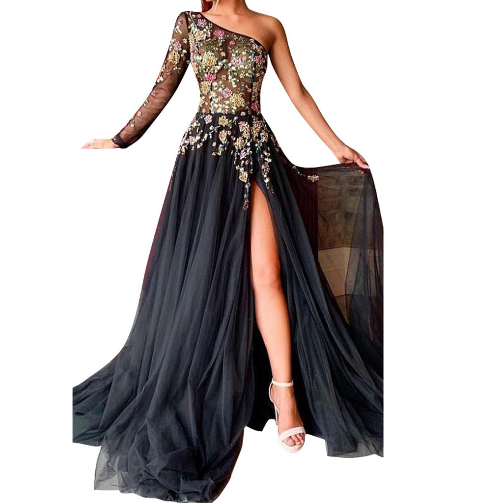 FREE OSTRICH One-shoulder Dress Elegant Floor-length Mermaid High Quality Tulle With Applique Long Party Dresses 1001