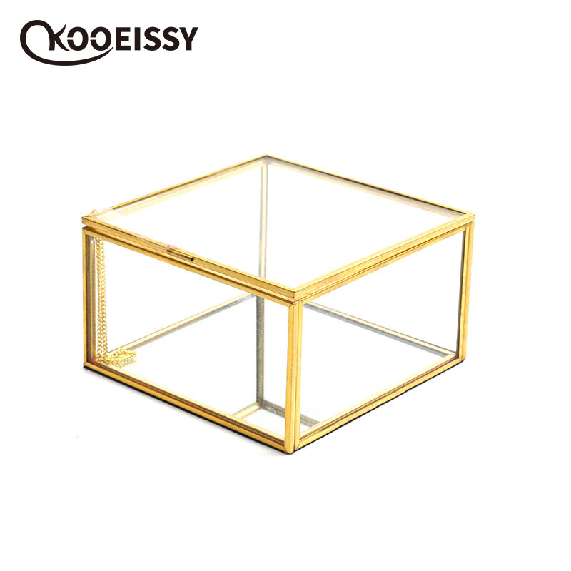 Geometric Square Covered Glass Organizer Transparent Glass Jewelry Storage Box Party Holiday Ornament Wedding Ring Container