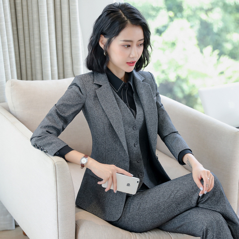 High Quality Professional Women's Office Sets Casual Suit Pants Two-piece Autumn and Winter Slim Ladies Jacket Fashion Trousers