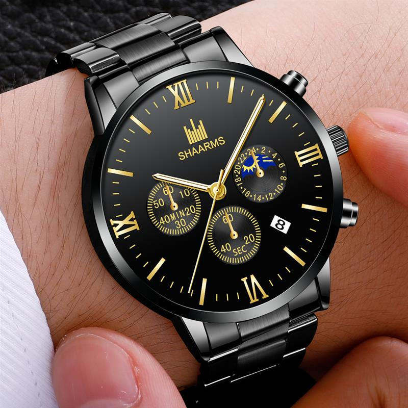 2019 Men's Fashion Watch Stainless Steel Band Luxury Wristwatch Casual Business Date Quartz Watches Man Clock Relojes Hombre
