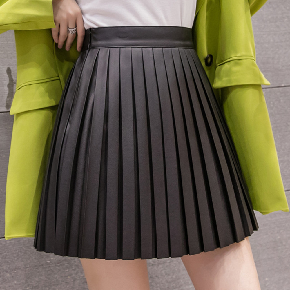 Women PU Mini Skirt High Waist Black Apricot Pleated Skirts Solid A-line Skirts Fashion Female Cute Short Skirt Jupe Femme Saia