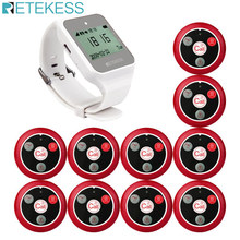 RETEKESS Wireless Waiter Calling System Customer Service For Restaurant TD108 Watch Receiver + 10 Call Button Wireless Pagers(China)