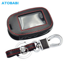 Leather Car Key Case For StarLine B92 B62 B64 B95 Two Way Car Alarm LCD Remote Controller Protect Cover Keychain With Key Ring
