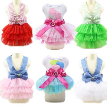 2020 Summer Dog Clothes Tutu Skirt Wedding Lace Tulle Princess Dress for Small Dogs Yorkies Puppy Girl Party Birthday Costumes