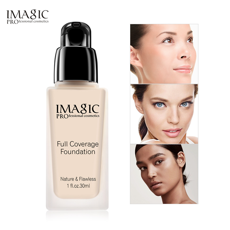 Imagic base rosto líquido fundação creme cobertura completa bomba corretivo óleo-controle fácil de usar rosto macio capa maquiagem fundação