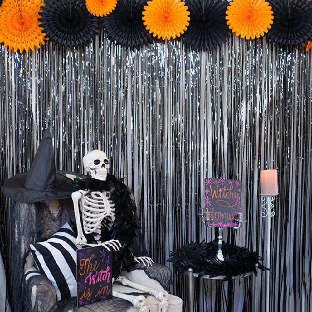 92x245cm Door Window Curtain Room Devider Tassel Drape Halloween Party Decor Curtain Home Decor Shiny Curtain Wedding Decor