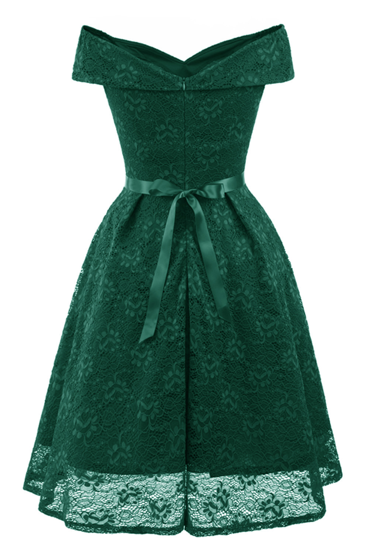 A-Line V Neck Off Shoulder Lace Knee-length Lace Bridesmaid Dress 9