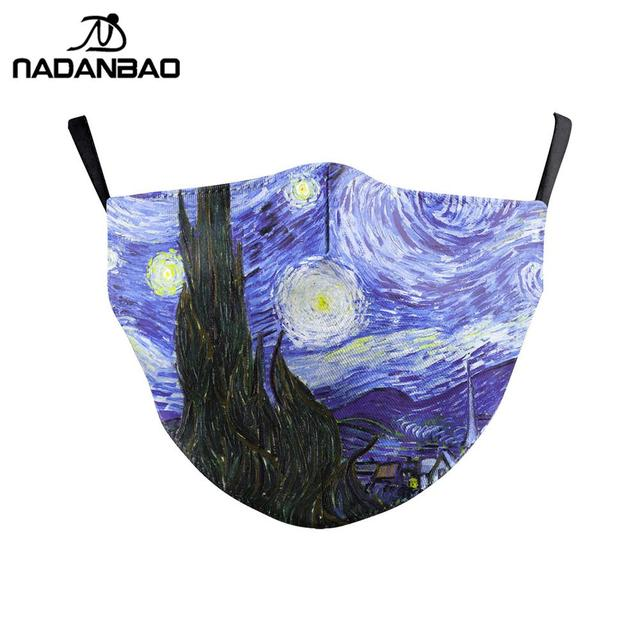NADANBAO Classic Van Gogh Oil Draw Print Face Masks Mouth Adult Reusable Washable Fabric Mask Protective PM 2.5 Dust Masks 1