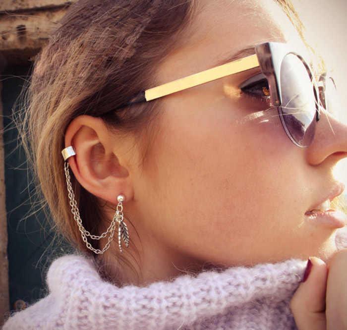 2019 boucles d'oreilles longues femmes mode boucle d'oreille femmes 1 paire femmes Punk personnalité Clip gland feuille charme métal oreille Clip boucle d'oreille