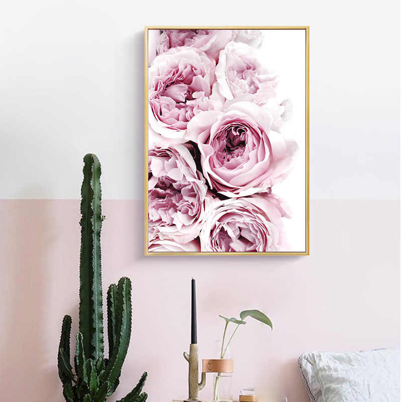 الفاوانيا زهرة قماش تحفيزية ملصق جدار الفن طباعة اللوحة الشمال نمط جدار صورة غرفة المعيشة ديكور المنزل الاسكندنافية