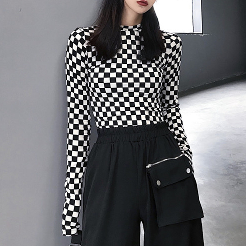 Black & White Checkered Mesh Top Long Sleeve Mock Neck Cropped Top Women's  T-shirts Altgirl Outfit / 1