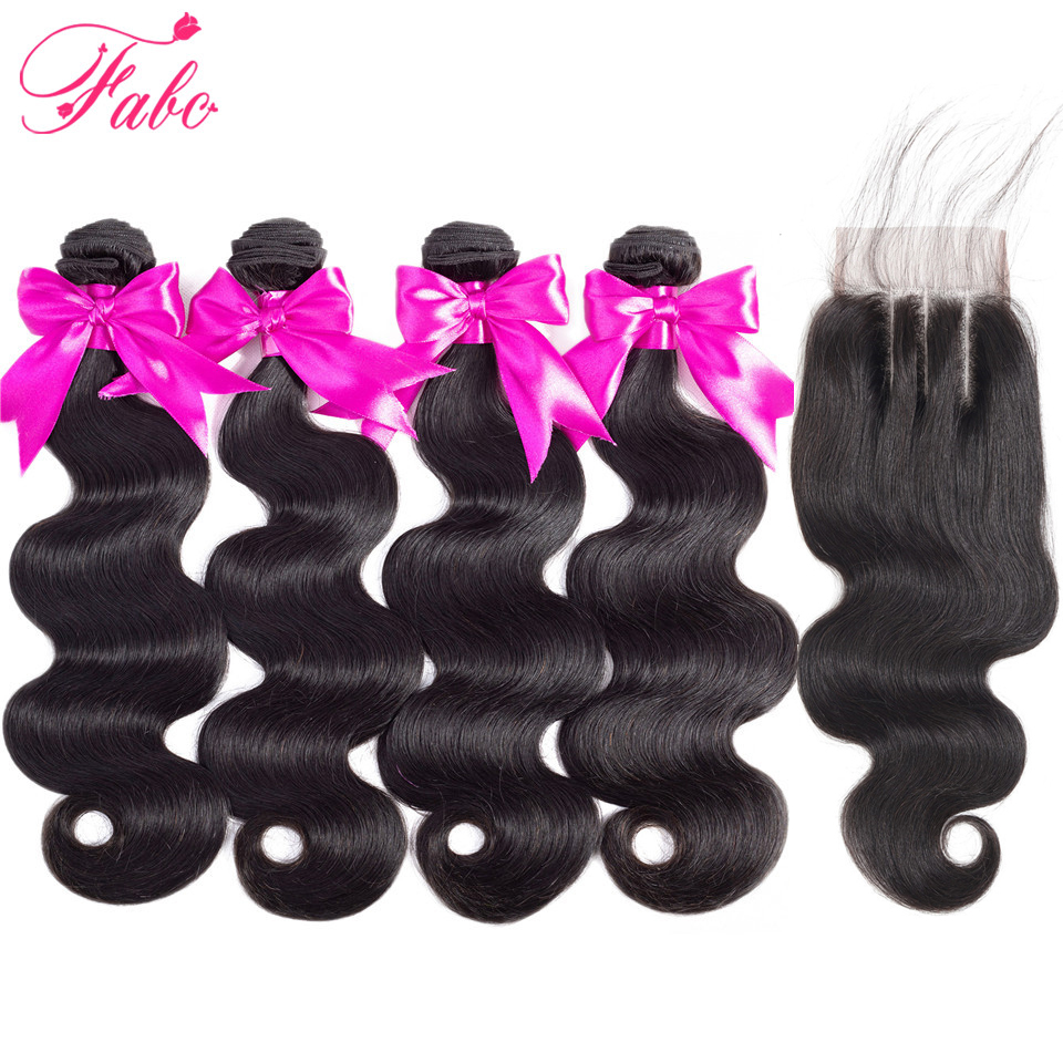 H3257ccdf709f40a1864cfc1462d9812aa FABC Hair Brazilian Hair Weave Bundles With Closure Pre Plucked Body Wave Human Hair Middle Ratio Non Remy Hair Natural Black