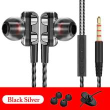 High Bass Wired Earphone Dual Drive Stereo In-Ear Earphones With Microphone Computer Earbuds For Cell Phone(China)