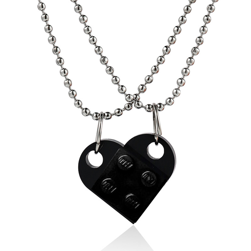 Couples Brick Heart Pendant Shaped Necklace for Friendship 2 Two Piece Jewelry Made with  Lego Elements Valentine's Day Gift