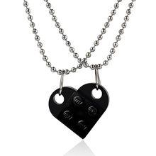 Pendentif en forme de cœur pour couple, 2 pièces, bijoux en forme de cœur de brique, pour l'amitié, fait avec des éléments Lego, cadeau de saint valentin
