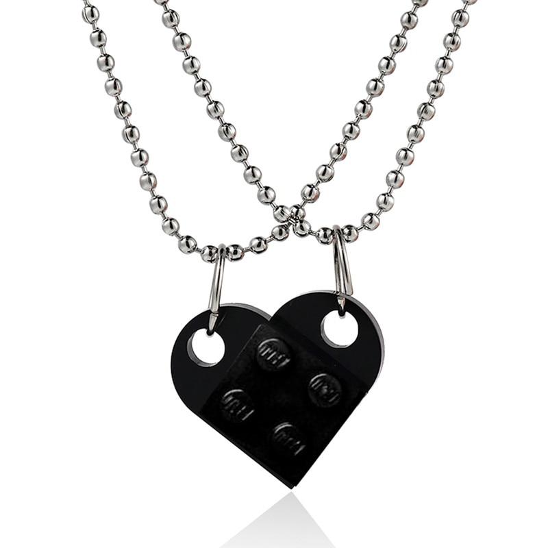 Couples brique coeur pendentif en forme de collier pour lamitié 2 deux pièces bijoux fabriqués avec des éléments Lego saint valentin cadeau