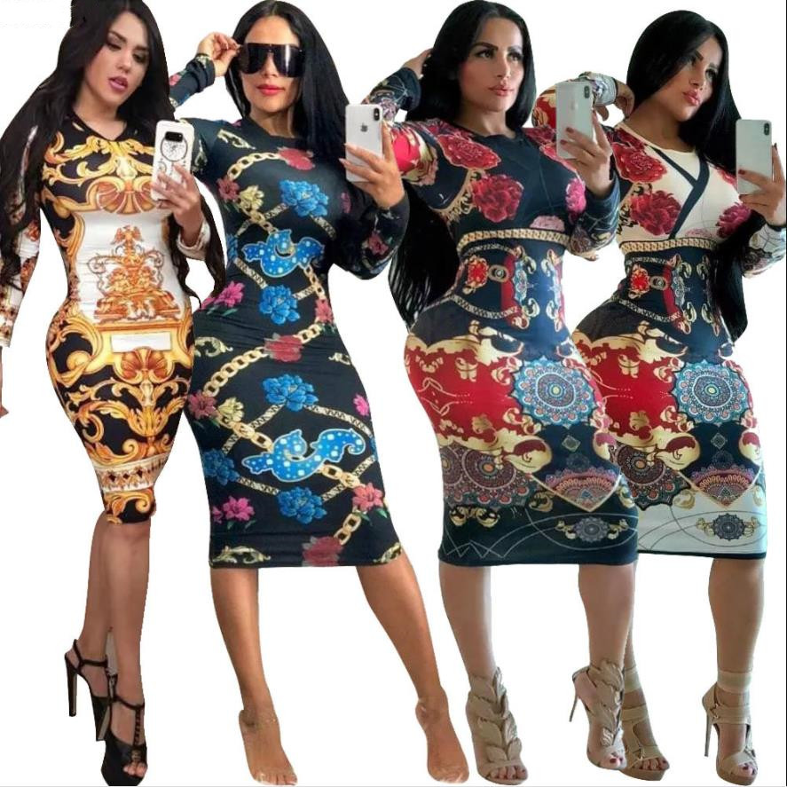 African Dress Dashiki Women Print Slit T Shirt Dresses Casual Long Sleeve Vestidos Africa Clothes