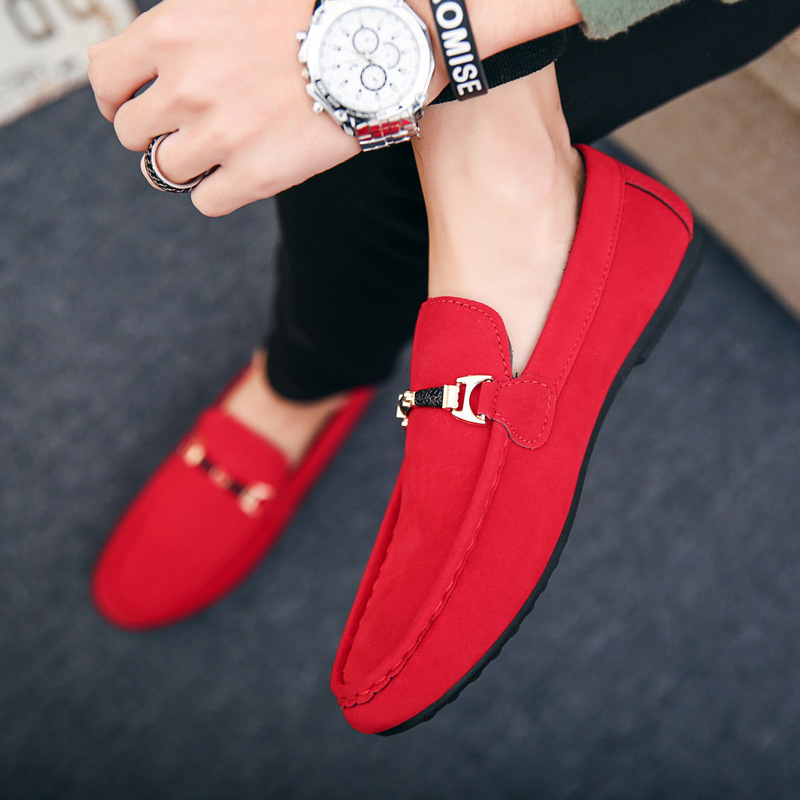 Designer Shoes Men  Slip-On Leather Shoes Casual Male Shoes Adult Red Driving Moccasin Soft Non-slip Loafers