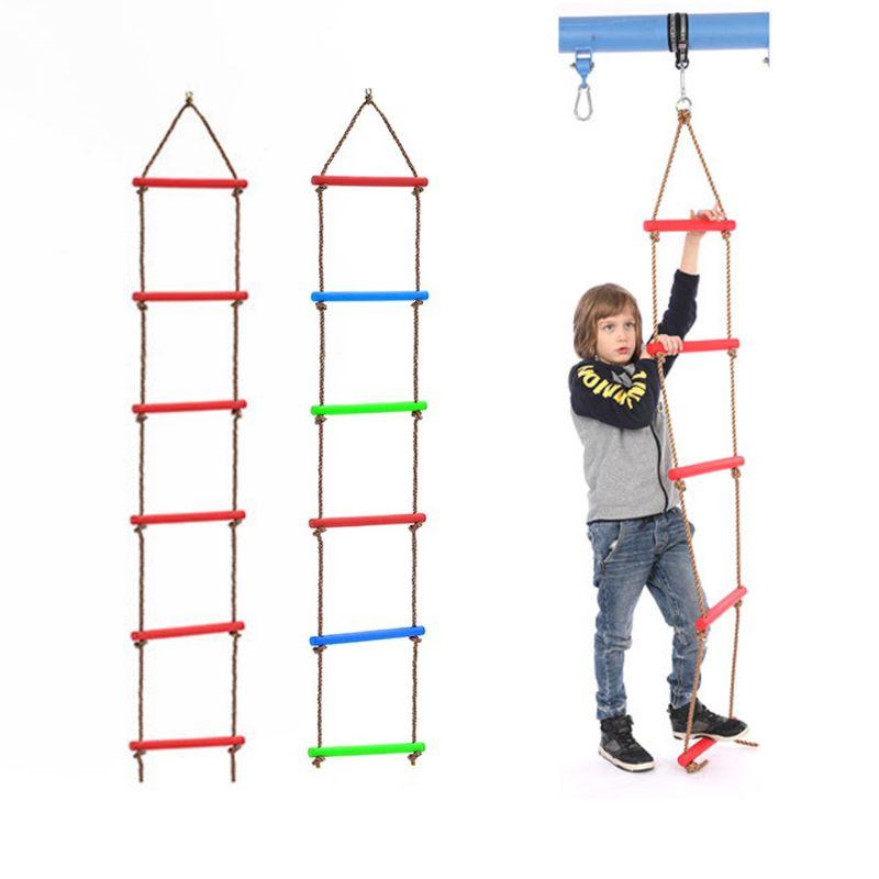 Wooden Rungs PE Rope Ladder Children Climbing Toy Kids  Fitness Sport Rope Swing