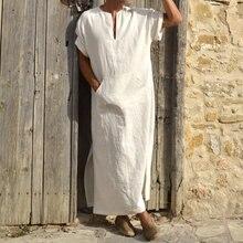 INCERUNชายRobes KaftanมุสลิมอาหรับอิสลามVคอสั้นแขนยาวCottonThobe VINTAGE Loungewear PLUSขนาดArabia Man abaya