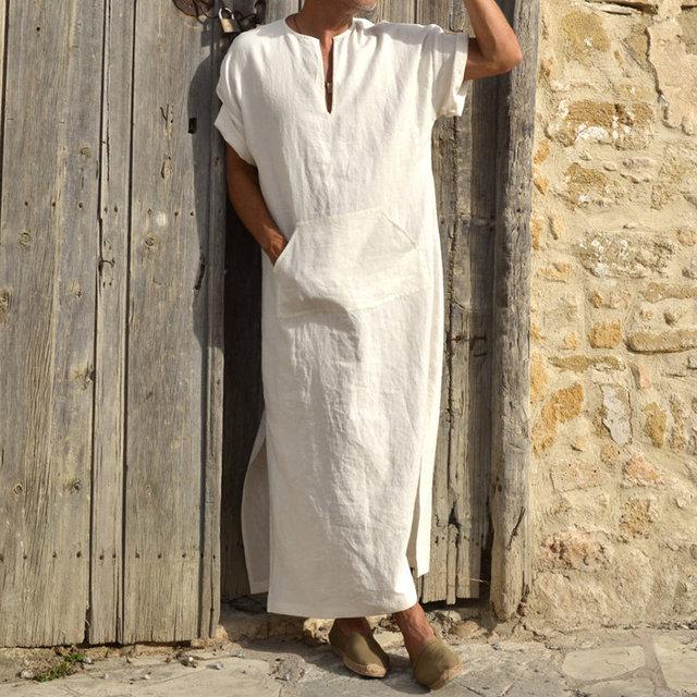 Incerun男性ローブカフタンイスラム教徒アラブイスラムvネック半袖固体cottonthobeヴィンテージ部屋着プラスサイズアラビア男アバヤ